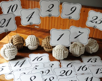 Nautical Wedding 20 Nautical Table Number Holders (10 manila and 10 cotton)