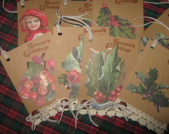 Vintage Hand Made Christmas Gift Tags, Holiday Gift Tags