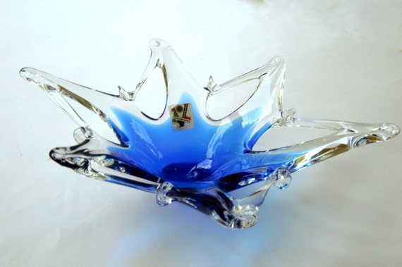 Murano Cobalt And Glass Bowl Blue Glass Decorative Dish