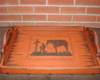 Rustic Antiqued Distressed Serving Tray