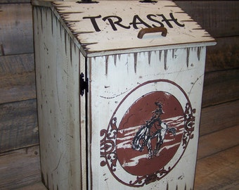 Wood Trash Can with Trash Can Bag Storage, Western Style Trash Can,  Kitchen Waste Basket