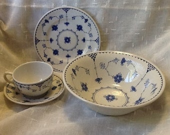 Franciscan Denmark English Ironstone Cups Saucers Serving Bowl Bread Butter Plates