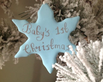 Fimo Babys first christmas snowflake hanging decoration
