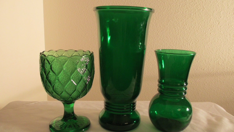 Vintage Emerald Forest Green Vases Set Of 3 Anchor Hocking