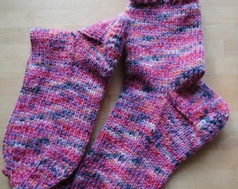 Warm and cozy handknitted socks, socks sizes 36-37, girly colors socks