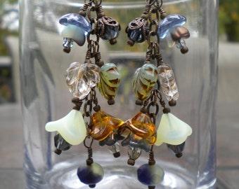 Blue Fall Flowers, Czech Glass and Vintaj Brass Dangle Earrings