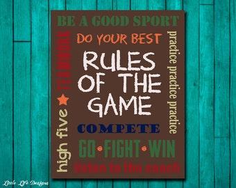 Sports Decor - Sports Nursery - Boy Room Decor - Rules of the Game Sign - Football, Baseball, Basketball - Sports Art - Kids Sports Decor