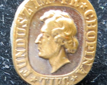 Original 1950's Frederic Chopin TIFC Society For Them Warsaw Poland Lapel Pin - Free Shipping