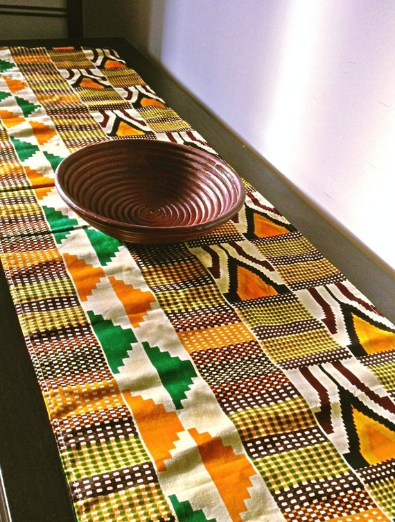 Cream Kente African Print Table Runner