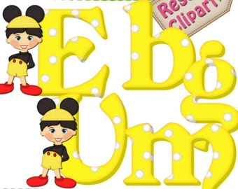 DIGITAL SCRAPBOOKING CLIPART - Mickey Mouse Alphabet Yellow