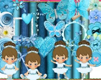 DIGITAL SCRAP KIT - Lil Ballerinas Blue