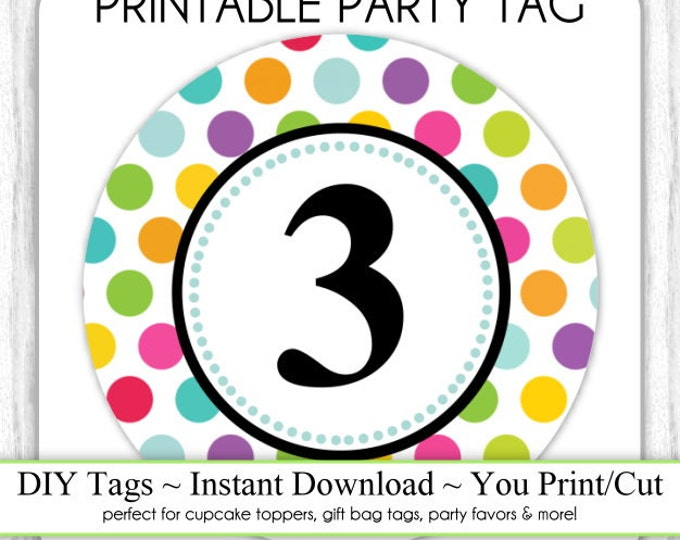 Instant Download - Polka Dot Printable Party Tag, 3rd Birthday Party Tag, DIY Cupcake Topper, You Print, You Cut