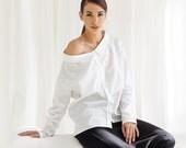 Oversized White Shirt / Off Shoulder White Shirt / Long Sleeved Cotton Shirt / Button-down Asymmetrical Shirt by AryaSense/ SHR14WH