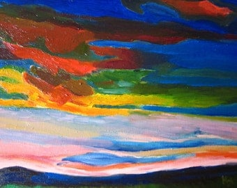 Colorful clouds during a storm (Original oil painting)