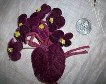 Vintage colorful violets velvet flowers