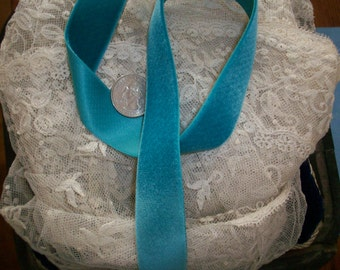 1 yd. Vintage teal Velvet satin back Rayon Yardage High Quality Old Store Stock