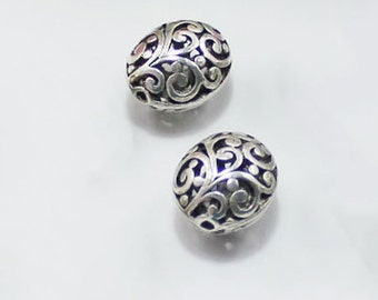 10 pcs   antiqued silver hollow beads  pendant 12 x15mm  hollow ball beads