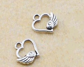 60pcs of Heart Wings Antique  Silver  small  Wings Charm Pendants 11mm
