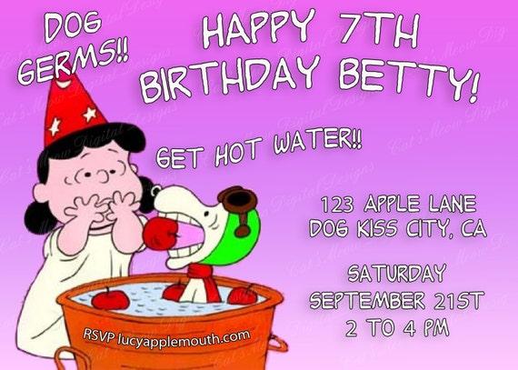 Souvent Invito di compleanno di Snoopy Peanuts Lucy stampabile IH54
