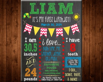 First Birthday Chalkboard Sign Printable - digital - Baby/Child Growth Milestones, Any colors, Boy, Girl, Growth, Statistics, Birth, Party