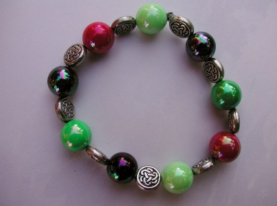 beaded stretch bracelet multi colored iridescent