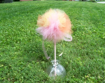Princess puff tulle wand, Peach tulle wand, Party favors, Party decorations, Peach decoration,  Bithday decorations, Table decorations