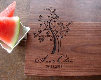 Personalized Cutting Board Whimsy Tree and Birds Cheese or Charcuterie Serving Board Wedding Gift Bridal Shower Gift