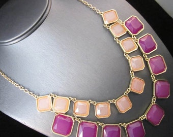 NEW Urban Doublie Row Purple Peach Gold Statement Necklace