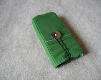 iPhone 5 or 4 Case, iPod Classic Case, Credit Card Holder, Clutch, Purse, Olive Green