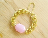 Chunky gold link bracelet with baby pink charm, blush pink bracelet with chunky gold chain