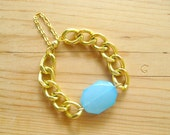 Chunky Gold Link Bracelet with Turquoise charm, Chunky gold bracelet
