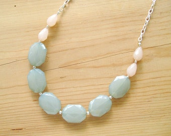 Mint and Blush long statement necklace, mint and blush silver necklace