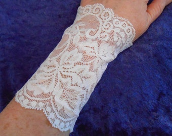 Cuffs in Almost White Stretch Lace Elastic, ONE PAIR, sizes S, M, L, leaf motif - gauntlet  - 5 inches long - wedding prom fun #131,132,133