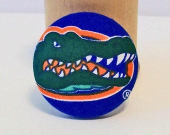 Blue and Orange Gator Gators Inpired Unusual Large Fabric Button Pin Pendant Combo