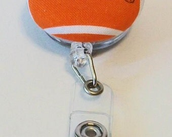 Fun Orange and White Clemson Tigers Inspired Fabric Button Retractable Badge Reel Clip