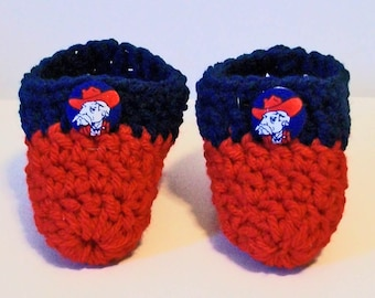 Adorable Hand Crocheted Baby Bootie Shoes Red and Blue Rebels Inspired Great Photo Prop Matching Hat & Bib Also Available
