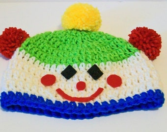 Fun Bright Colors Clown Pom Pom Hand Crocheted Baby and Childrens Hat Great Photo Prop 5 Sizes Available