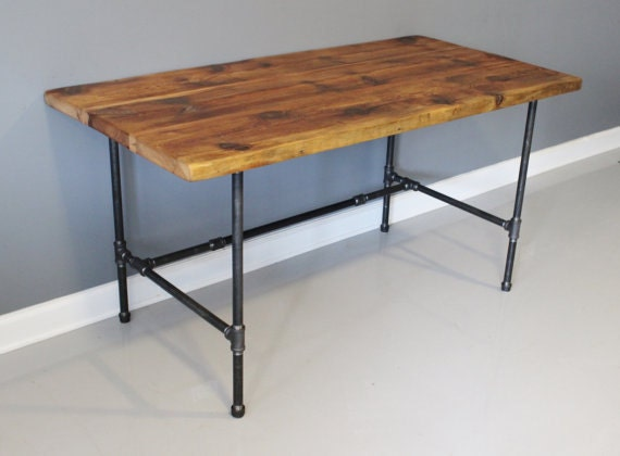 Industrial pipe desk reclaimed urban wood desk by dendroco for Industrial pipe desk