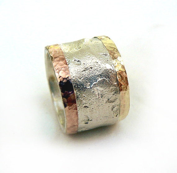 Unique Wide Wedding Band For Women Three Toned Ring Wide And