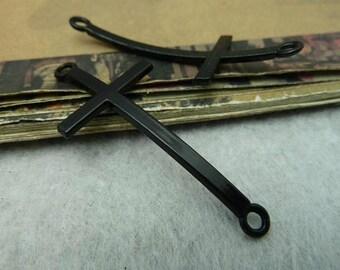 5pcs Electrophoresis black sideways cross charm connector 22x52mm
