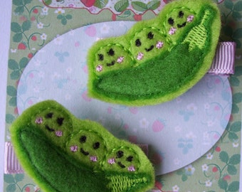 Sweet Peas in a Pod Hair Clippies Embroidered Felt Applique Hair Accessories