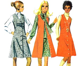 70s Dress Pattern Womens Jumper Pattern McCalls 2514 Bust 37 Vintage Sewing Pattern 1970 Ascot Blouse Jumper Dress Sewing Patterns for Women
