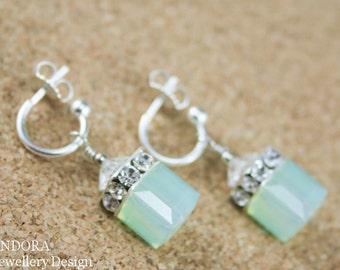 Mint green opal earrings,Swarovski cube earrings,Silver Cube earring,Mint wedding,Crystal cube earring,Mint green bridesmaid earrings,Mint