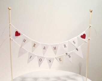 Cake Bunting/Cake Topper/Cake Banner/Flags Mr & Mrs Customisable Surname. Wedding - Anniversary.
