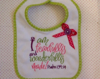 Personalized Embroidered / Appliqué Bib Psalm 139:14