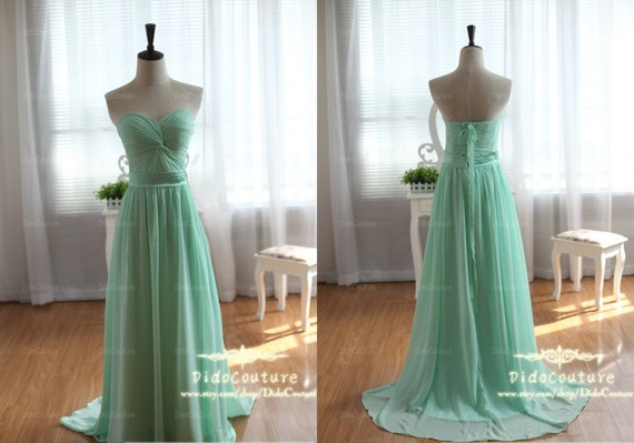 Items Similar To Mint Green Sweetheart Chiffon Bridesmaids