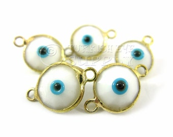 5 pc White Swarovski Crystal Evil Eye Charm Connectors, Hand Made Evil Eye Bohemian Jewelry, 22K Gold Plated, Turkish Jewelry