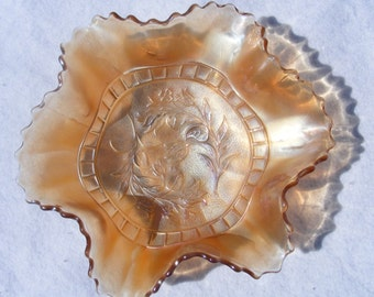 1910s Dugan Marigold Carnival Glass Windflower 6 Ruffled Bowl-Excellent Condition