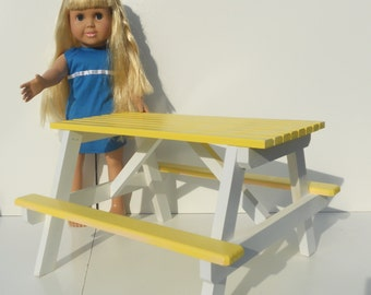 SALE ITEM  American Girl and other 18 inch dolls table hand-made all wood 2-tone  picnic table