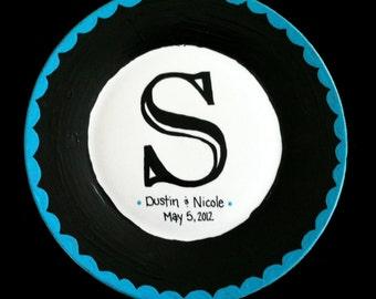 Custom Monogrammed Wedding Plate - Scallops - Married Couple - Families - Bridal Shower - Housewarming - Home Decor